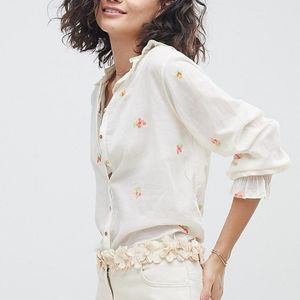 Intropia floral embroidered button down blouse